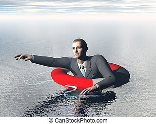 Drowning businessman asking for help - 3D render
