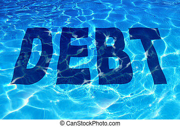 Drowning in debt business and finance concept with the word icon sinking under a sparkling reflection of blue pool of water as a symbol of financial problems to pay debts owing resulting in budget management desperation.