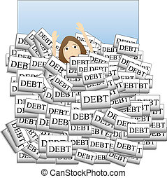Drowning in Debt - Person sinking down overcome by too much