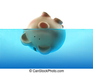 Drowning in debt represented by a piggy bank sinking in blue...