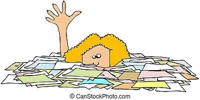 Drowning In Paper - This illustration depicts a woman up to...