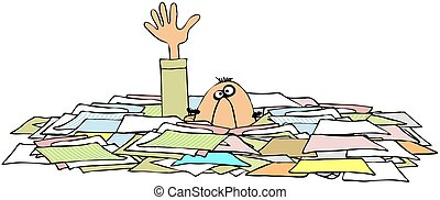 Drowning In Paperwork - This illustration depicts a man with...