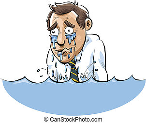 A cartoon man drowning in a lake of his own tears.