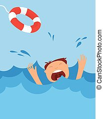 drowning man screaming for help. summer danger - drowning...