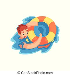 Drowning man with lifebuoy vector Illustration on a white background