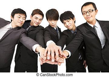 drużyna, asian, razem, handlowy, ręka