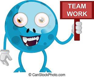 drużyna, biały, ilustracja, znak, potwór, praca, wektor, błękitny, tło.