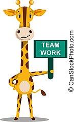 drużyna, biały, ilustracja, znak, praca, wektor, żyrafa, tło.