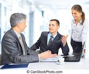 drużyna, handlowe biuro, posiedzenie