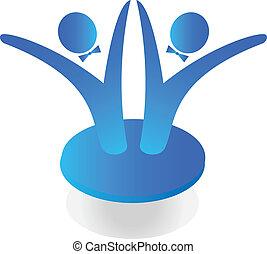 drużyna, handlowy, logo