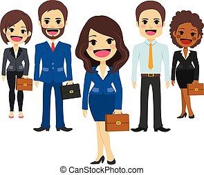 drużyna, handlowy, personel