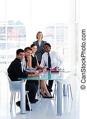 drużyna, handlowy, pracujące biuro, razem