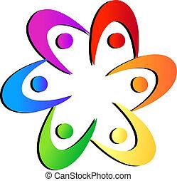 drużyna, kwiat, kształt, logo