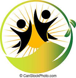drużyna, natura, logo, wektor