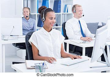 drużyna, od, businesspeople, z, słuchawki