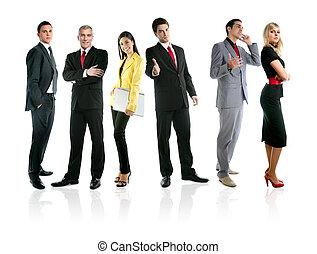 drużyna, od, handlowy zaludniają, grupa, tłum, pełna długość