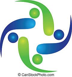 drużyna, od, swooshes, logo