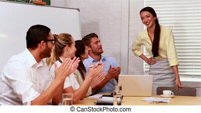 drużyna, oklaski, na, prezentacja