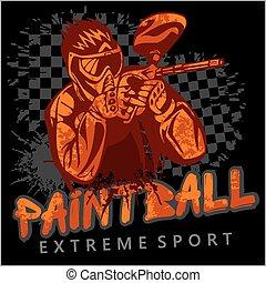 drużyna, paintball, sport, -, ekstremum