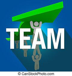 drużyna, słowo, długi, cień, ludzie pracujące razem, dźwig, strzała