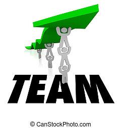 drużyna, słowo, ludzie pracujące razem, dźwig, strzała