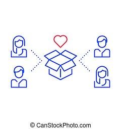 drużyna, służba, tarcza, grupować pracę, rozwój produktu, lepszy, nowy, pojęcie