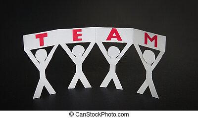 drużyna, sylwetka, papier, dzierżawa, znak