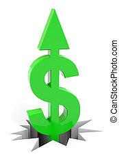 druchbrechen , dollar, auf, floor., zeichen, grün, pfeil
