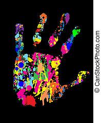 druck, farbig, hand