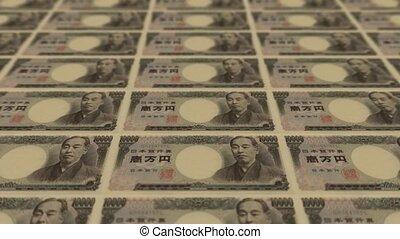 druck, geld, 10000 yen, japanisches