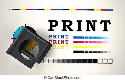 druck, loupe, stehende , auf, farbe, pr�fung, paper., 3d, abbildung