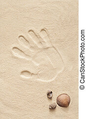 druck, sand, hand