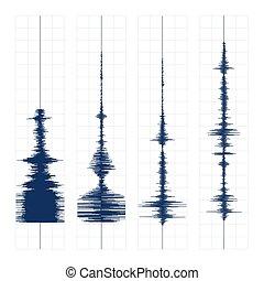 druck, seismogram, wellen