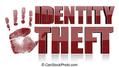 druck, text., identität diebstahl, hand