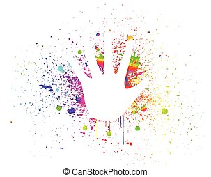drucke, bunte, hände, vektor, splash., tinte