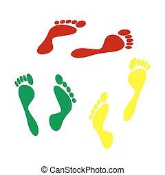 drucke, zeichen., isometrisch, gelber , stil, grün, fuß, icon., rotes