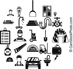 Drudgery icons set, simple style - Drudgery icons set....