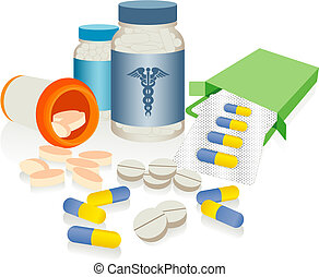An asortment of prescription medicines isolated against a white background.