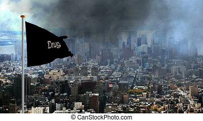 Drug abuse flag over the big city