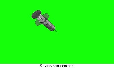 Drug abuse syringe with drugs 3d illustration render animation graphite pencil sketch drawing style seamless loop greenscreen chromakey