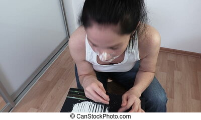 Drug abuse Woman Trying Cocaine.Drug Abuse and Social Issues concept