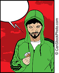 Comic style drawing of a drug addict man and a speech bubble