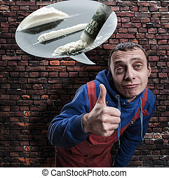 Drug addict showing thumb up