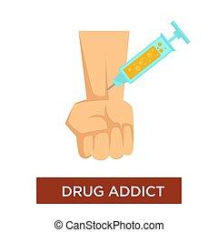 Drug addict syringe and vein narcotic substance addiction -...