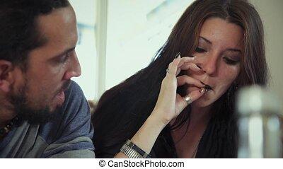 Drug Addicted Sharing Marijuana Cigarette People Smoking...