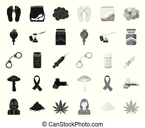 Drug addiction and attributes black. mono icons in set collection for design. Addict and Drug vector symbol stock web illustration.