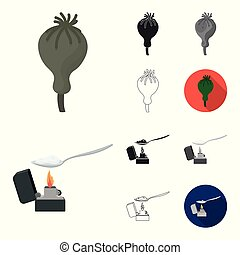 Drug addiction and attributes cartoon, black, flat, monochrome, outline icons in set collection for design. Addict and Drug vector symbol stock web illustration.