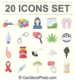 Drug addiction and attributes cartoon icons in set...