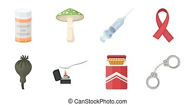 Drug addiction and attributes icons in set collection for design. Addict and Drug vector symbol stock web illustration.