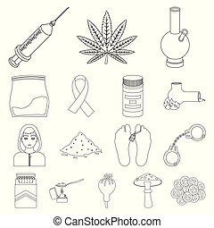 Drug addiction and attributes outline icons in set...
